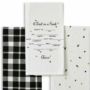 Toast In A Pinch Cheers Set Of 3 Plaid  Dot Towels